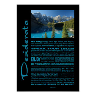 Desiderata Poem Moraine Lake Poster