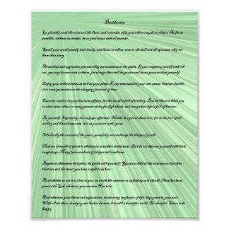 Desiderata poem on a green light ray background photo print
