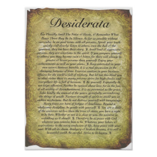 Desiderata Poem on Antique Style Paper Poster