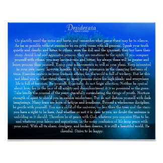Desiderata Poem on magical blue tree Poster