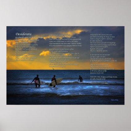 Desiderata Poem on Surfing at Sundown Poster