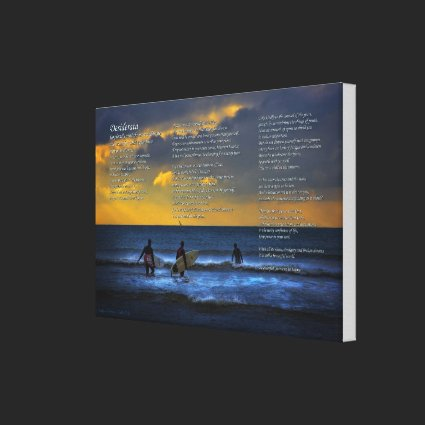 Desiderata Poem on Surfing At Sundown - SMALL Gallery Wrapped Canvas