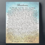 """Desiderata Poem on Watercolor Ocean Beach Plaque<br><div class=""""desc"""">The Desiderata Poem was written by Max Ehrmann. It is an Inspirational Message to share with Friends &amp; Family in these troubling times. Be sure to visit my Zazzle Shop to see all the rest of My DESIDERATA designs. I have the largest selection in the world. Even if You don&#39;t...</div>"""