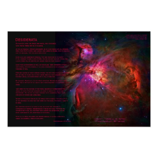 Desiderata Poem - Orion Nebula and Trapezium Stars Poster
