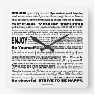 Desiderata Poem Poesy Verse Poetry Quote (White) Square Wall Clock