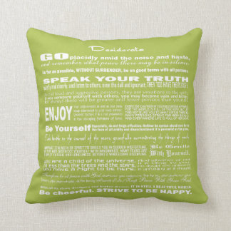 Desiderata Poem Poetry Poesy Verse (Green Tender) Throw Pillow