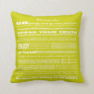 Desiderata Poem Poetry Poesy Verse Writing (Lime) Pillow