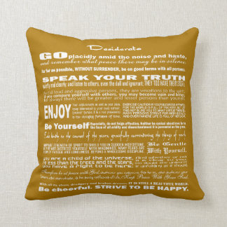 Desiderata Poem Poetry Poesy Verse Writing (Olive) Throw Pillow