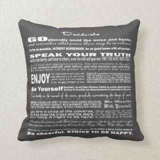 Desiderata Poem Poetry Poesy Writing (Dark Gray) Pillows