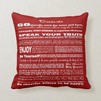 Desiderata Poem Poetry Poesy Writing (Dark Red) Throw Pillow