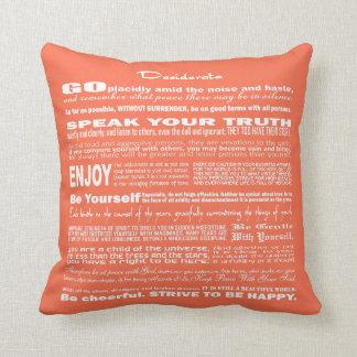 Desiderata Poem Poetry Poesy Writing (Peach) Throw Pillow