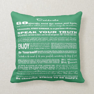 Desiderata Poem Poetry Poesy Writing (Sea Green) Throw Pillow