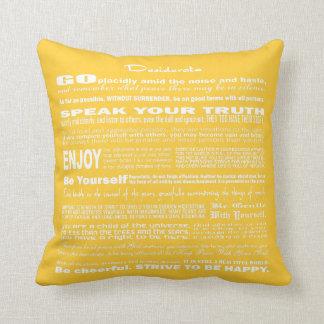 Desiderata Poem Poetry Poesy Writing (Yellow) Pillow