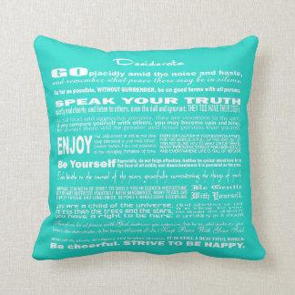 Desiderata Poem Poetry Writing (Soft Light Blue) Pillow