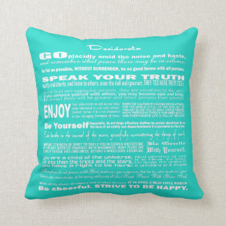 Desiderata Poem Poetry Writing (Soft Light Blue) Throw Pillow