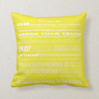 Desiderata Poem Poetry Writing (Yellow Intense) Throw Pillow