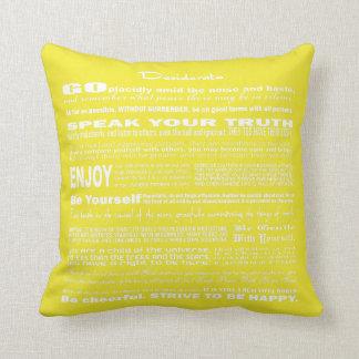 Desiderata Poem Poetry Writing (Yellow Intense) Throw Pillow