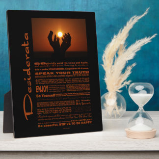 Desiderata Poem Praying At Sunsent Plaque
