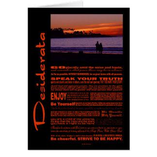 Desiderata Poem Romantic Couple At Sunset Card