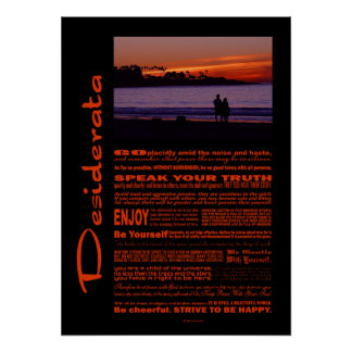 Desiderata Poem Romantic Couple At Sunset Poster