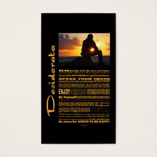 Desiderata Poem Romantic Man At Sunset Business Card