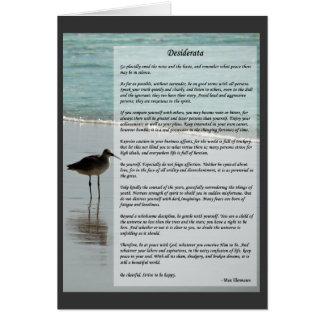 Desiderata Poem - Seagull on the Beach Scene Card