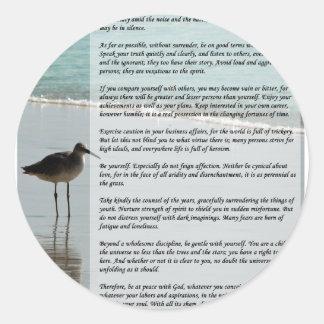 Desiderata Poem - Seagull on the Beach Scene Classic Round Sticker