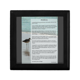 Desiderata Poem - Seagull on the Beach Scene Keepsake Box