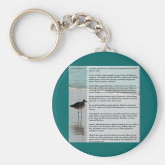 Desiderata Poem - Seagull on the Beach Scene Key Chains