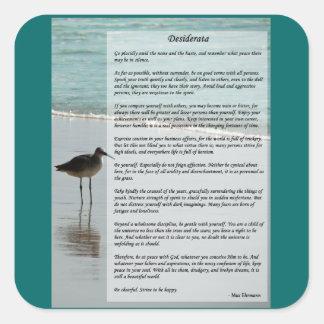 Desiderata Poem - Seagull on the Beach Scene Square Sticker