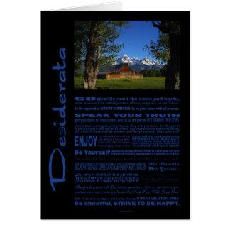 Desiderata Poem Solitary Barn At Grand Tetons #1 Card