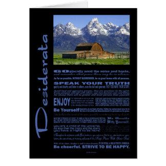 Desiderata Poem Solitary Barn At Grand Tetons #2 Card