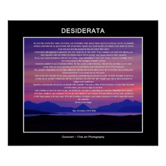 Desiderata poem sunset poster