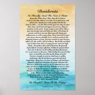 Desiderata Poem Watercolor Turbulent Ocean Sunset Poster