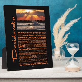 Desiderata Poem Wave Hugging Sunset Plaque