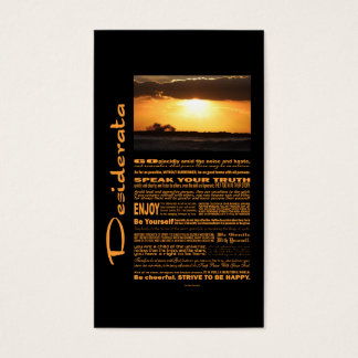 Desiderata Poem Waves At Sunset Business Card