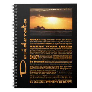 Desiderata Poem Waves At Sunset Note Books
