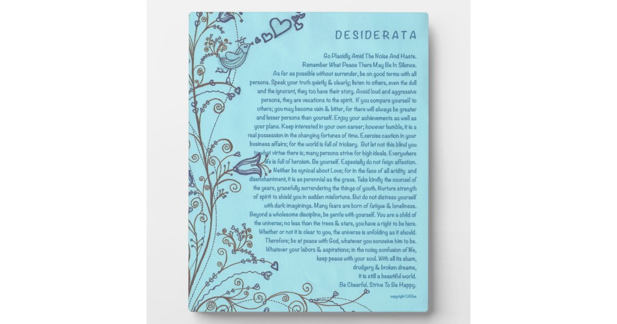 Desiderata Poem With The Bluebird Of Happiness Plaque