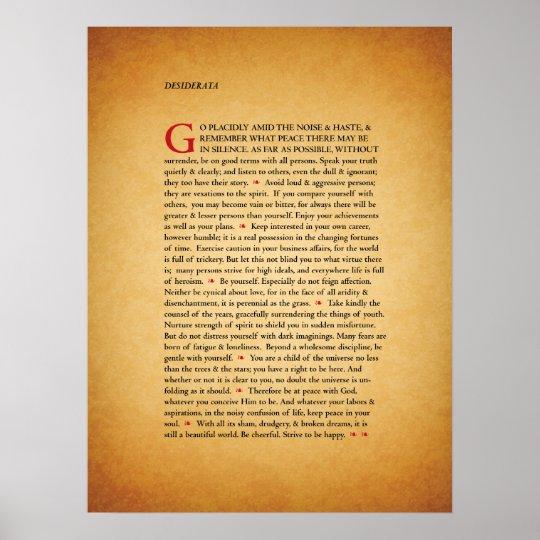 image regarding Printable Desiderata named Desiderata Poster