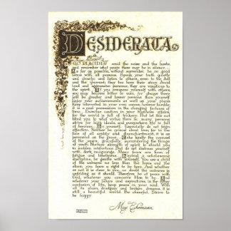 DESIDERATA Poster by Max Ehrmann - Antique Scroll