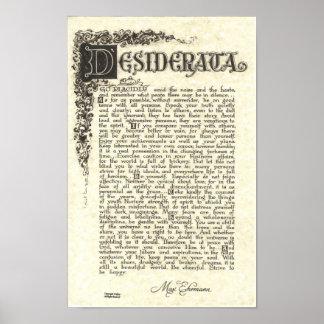 DESIDERATA Poster by Max Ehrmann - Charcoal Scroll