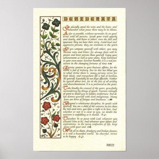 Desiderata poster by max ehrmann leaf calligraphy zazzle