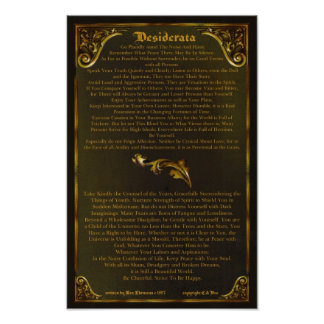DESIDERATA Poster-Max Ehrmann-11x17-Gold Baroque Poster