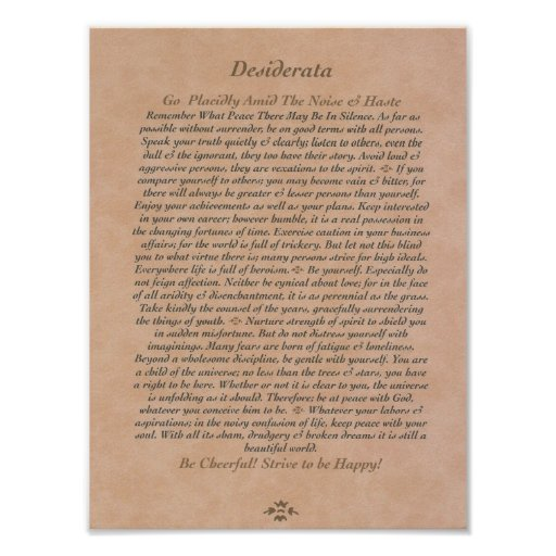 DESIDERATA Poster on Tanned Leather