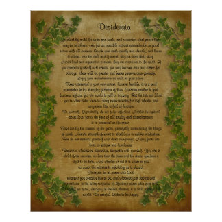 Desiderata prose Large ivy on parchment Poster