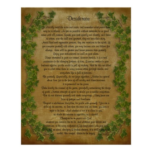 Desiderata prose Large ivy on parchment Posters