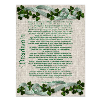 Desiderata prose on Irish linen-look background Poster