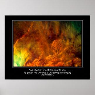 Desiderata quote - Lagoon Nebula astronomy image Print