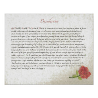 DESIDERATA Red Rose Poster