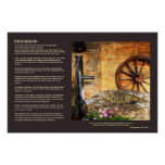 Desiderata - Rustic Pump, Well and Cartwheel scene Poster